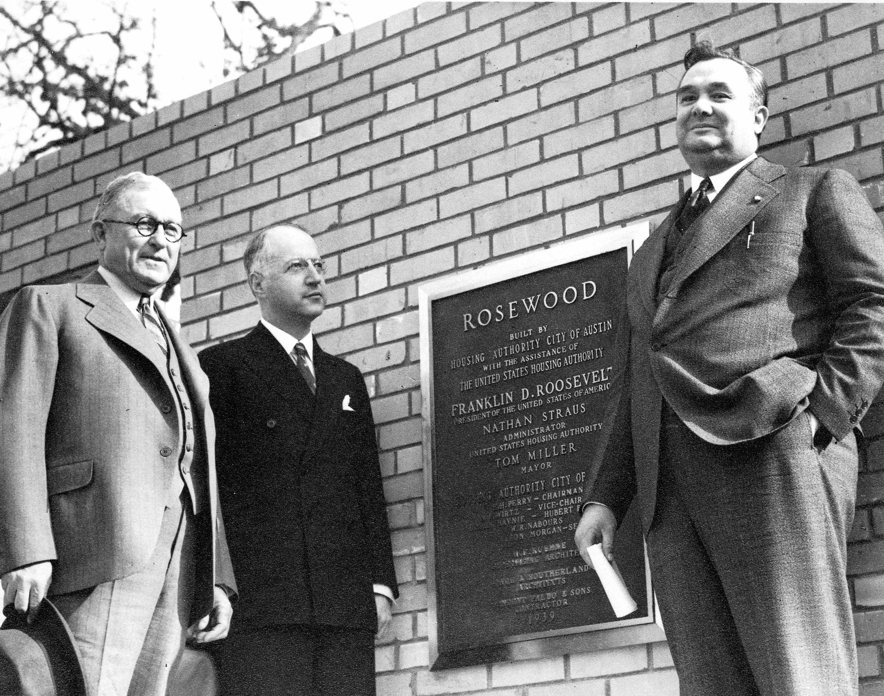 Dedication of Rosewood Courts, 3/1/1939. L to R:                 E.H. Perry, Nathan Straus, Tom Miller